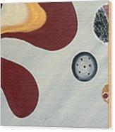 Gray And Bordo Style Wood Print by Yafit Seruya