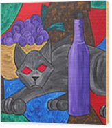 Gray Cat Wood Print