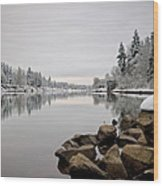 Gray Day In Lake Oswego Wood Print