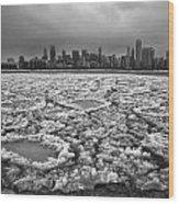 Gray Winter Chicago Skyline Wood Print