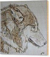 Gray Wolf Pyrographic Wood Burn Original 5.75 X 5.75 Inch Art Panel Wood Print