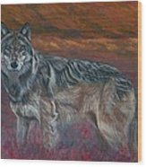 Gray Wolf Wood Print by Tom Blodgett Jr