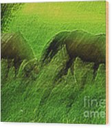 grazing Horses watercolor Wood Print