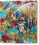 Grazing Sheep Wood Print