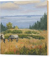 Grazing With A View Wood Print