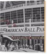 Great American Ball Park And The Cincinnati Reds Wood Print