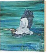 Great Blue Heron-3a Wood Print