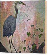 Great Blue Heron Among Cypress Knees Wood Print by J Larry Walker