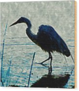 Great Blue Heron Fishing In The Low Lake Waters Wood Print