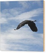 Great Blue Heron Flying Past The Clouds Above Trojan Pond 2 Wood Print