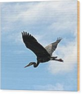 Great Blue Heron Flying Past The Clouds Above Trojan Pond Wood Print