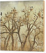 Great Blue Heron Hangout Fine Art Wood Print