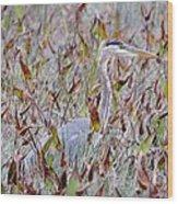 Great Blue Heron In Fall Marsh Wood Print
