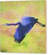 Great Blue Heron In Flight Art Wood Print
