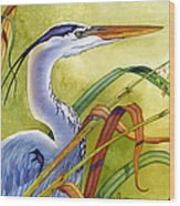 Great Blue Heron Wood Print by Lyse Anthony