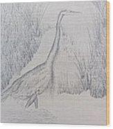 Great Blue Heron Pencil Drawing Wood Print by Debbie Nester