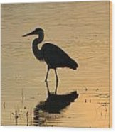 Great Blue Heron Reflected Wood Print