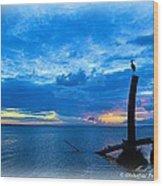 Great Blue Heron Sunrise Wood Print