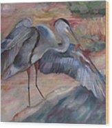 Great Blue Heron Wood Print by Susan Hanlon