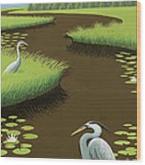 Great Blue Herons On A Lily Pad Pond Wood Print