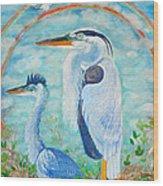 Great Blue Herons Seek Freedom Wood Print