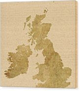 Great Britain Map Wood Print