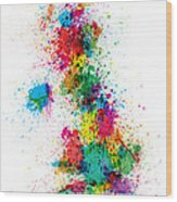 Great Britain Uk Map Paint Splashes Wood Print