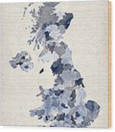 Great Britain Uk Watercolor Map Wood Print by Michael Tompsett