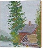 Great Camp Sagamore Boat House Wood Print
