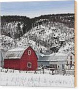 Great Canadian Red Barn In Winter Wood Print