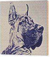 Great Dane- Blue Sketch Wood Print by Jane Schnetlage