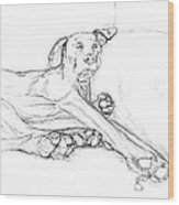 Great Dane Dog Sketch Bella Wood Print