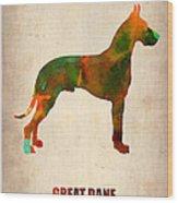 Great Dane Poster Wood Print by Naxart Studio