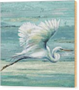 Great Egret I Wood Print