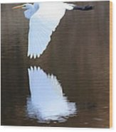 Great Egret Over The Pond Wood Print