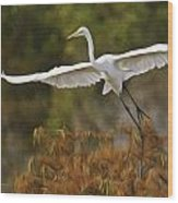 Great Egret Pixelated Wood Print