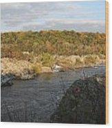 Great Falls Down River Fall Wood Print