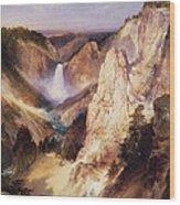 Great Falls Of Yellowstone Wood Print by Thomas Moran