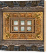 Great Hall Ceiling Library Of Congress Wood Print