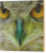 Great Horned Eyes Fractal Wood Print