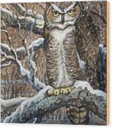 Great Horned Owl Another Storm Wood Print