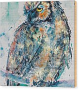 Great Horned Owl In Gold Wood Print