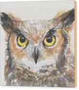 Great Horned Owl Watercolor Wood Print