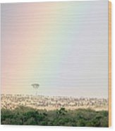 Great Migration Of Wildebeests, Masai Wood Print