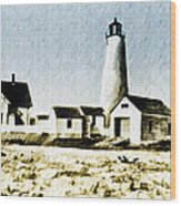 Great Point Lighthouse Nantucket Wood Print
