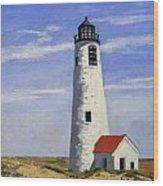 Great Point Lighthouse Nantucket Massachusetts Wood Print