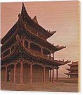 Great Wall Pagoda At Sunset Wood Print
