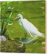 Great White Egret Bird With Deer And Fish In Lake  Wood Print