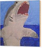 Great White Shark Breaching Wood Print