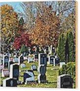 Greece Fall Cemetery Wood Print